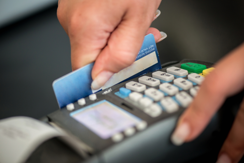Debit card swiping on card-reader device