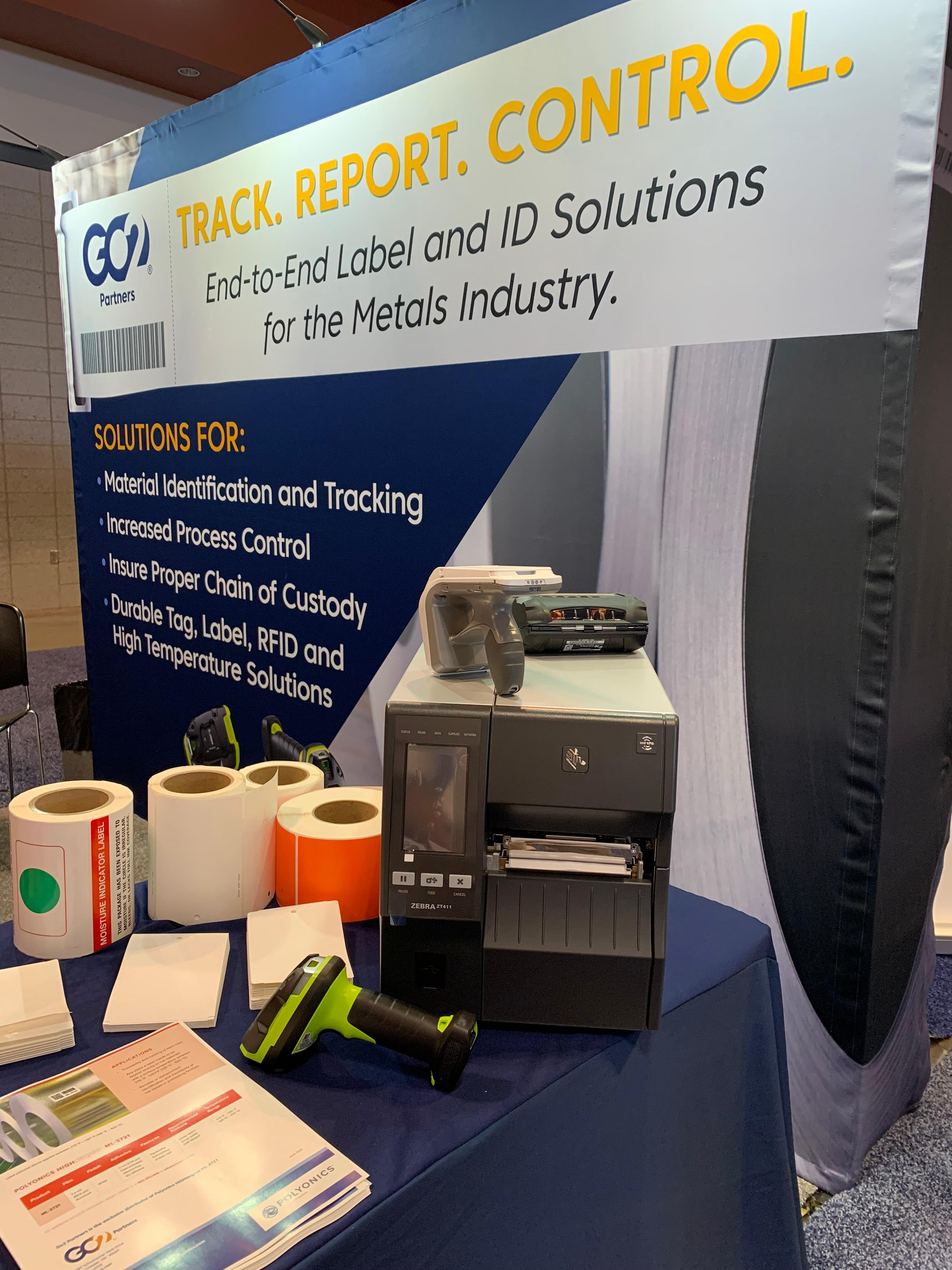 RFID tags and printer at the GO2 Partners Booth at the 2021 AISTech show