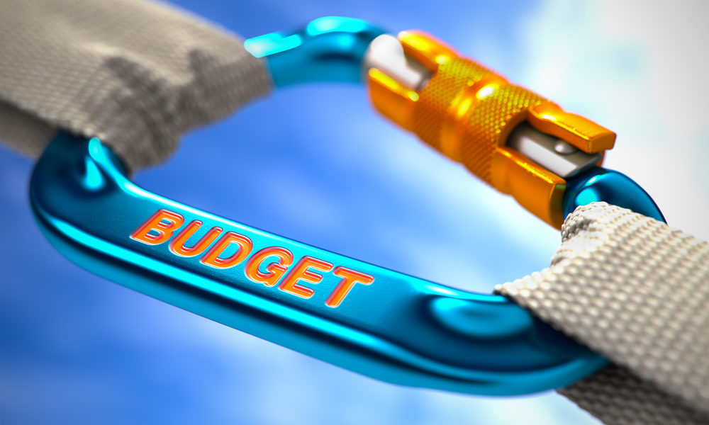 Graphic representation with carabiner of factors impacting budget