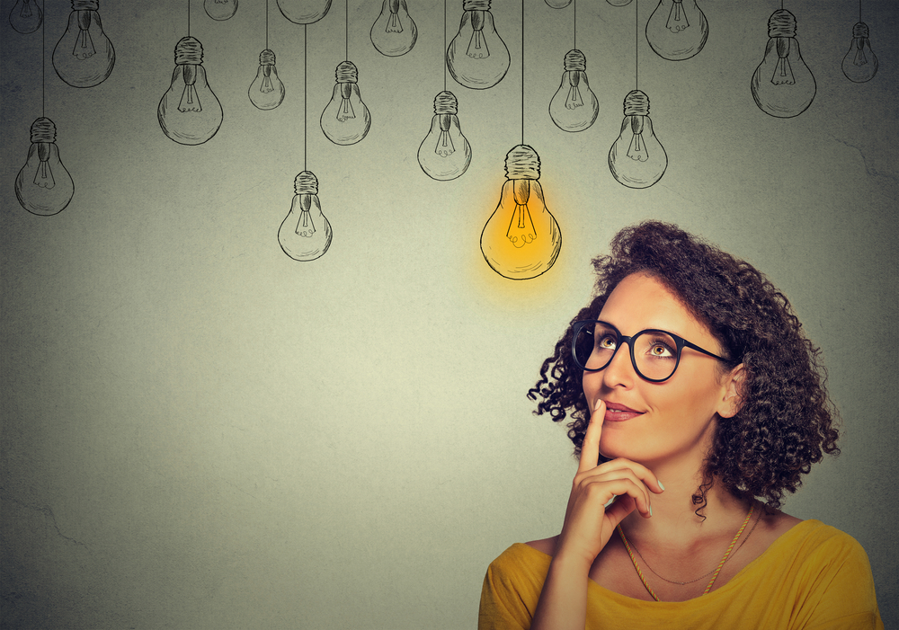Woman thinking about promotional merchandise and business innovation