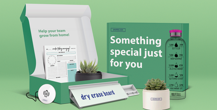 work from home themed sales kit with plants, dry erase board, and water bottle