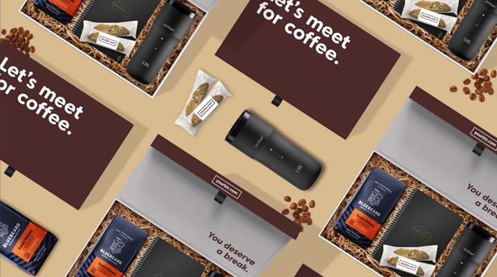 coffee themed sales kit with coffee beans and thermal cup
