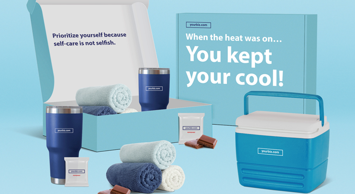 keep it cool themed sales kit including towels, mints, and cooler